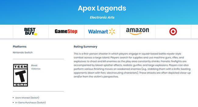 分级信息已出 《Apex英雄》Switch版可能很快就发售了